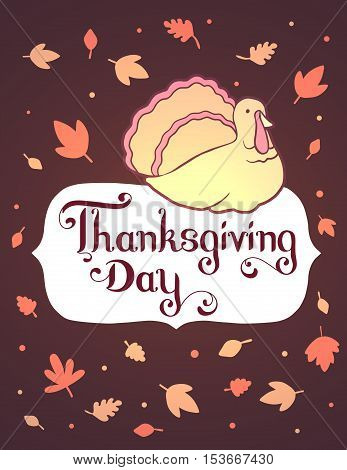 Vector Thanksgiving Illustration With Gradient Turkey Bird And Text Thanksgiving Day In Frame On Dar