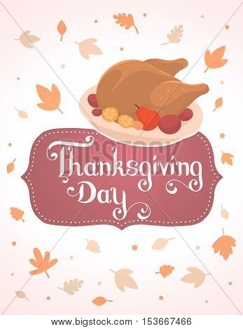 Vector Thanksgiving Illustration With Deep Fried Turkey And Text Thanksgiving Day In Frame On White