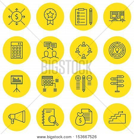Set Of Project Management Icons On Analysis, Decision Making And Discussion Topics. Editable Vector