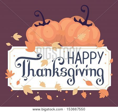 Vector Thanksgiving Illustration With Pumpkins And Text Happy Thanksgiving With Autumn Leaves On Dar
