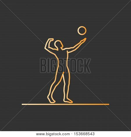 Gold line volleyball icon. Vector silhouette of volleyball player.