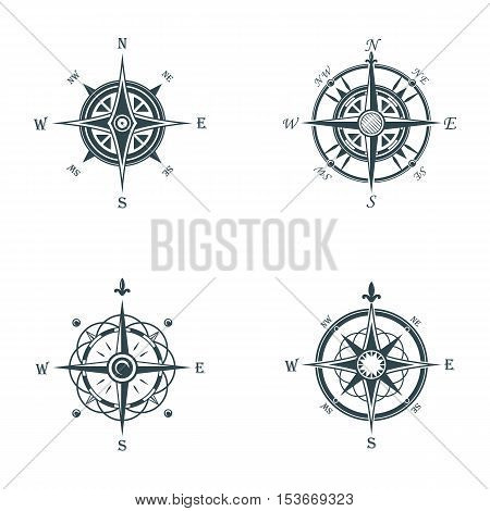 Nautical or marine old navigation compass. Sea or ocean vintage or retro wind rose for direction or longitude or latitude measure. May be used for cartography icon or travel sign, adventure badge