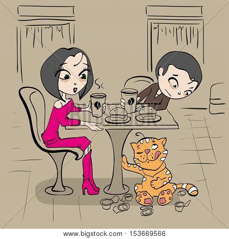 Loving couple in cafe at table and funny cat. Vector cartoon illustration