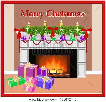 Merry Christmas greeting card with decorated festive fireplace fir branches and colorful gift boxes in flat style. Vector illustration.