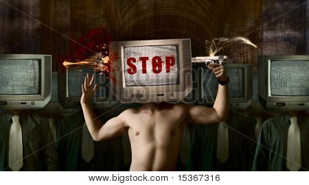 Stop your TV! Concept art image about bad influence of television.