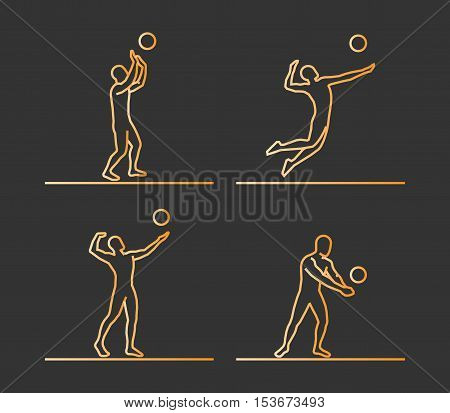 Gold silhouettes of volleyball. Vector set of linear volleyball players figures.