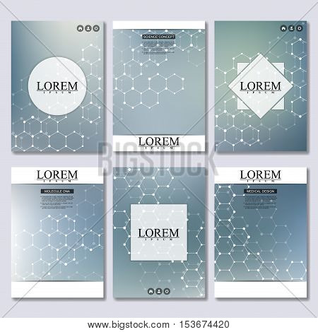 Set of business templates for brochure, flyer, cover magazine in A4 size. Structure molecule DNA and neurons. Geometric abstract background. Medicine, science, technology. Vector illustration