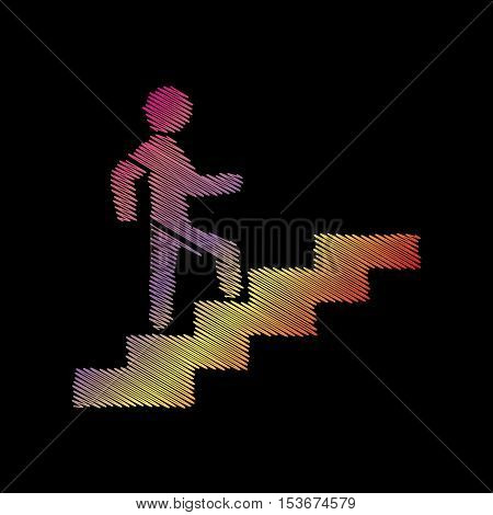Man On Stairs Going Up. Coloful Chalk Effect On Black Backgound.