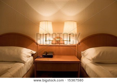 Simple interior in a hotel room.