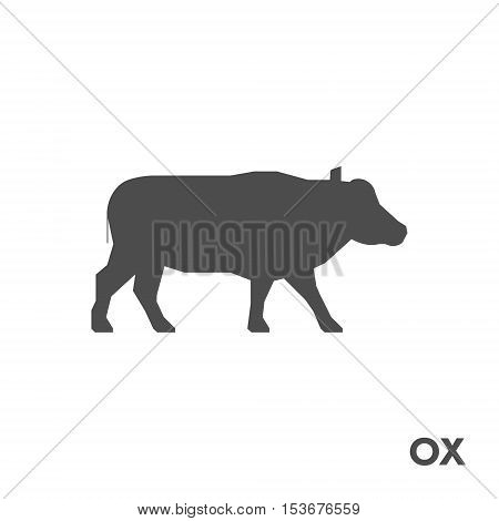 Black vector figure of ox. Vector wild animals for web and design.