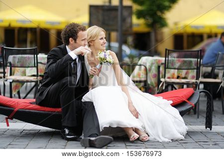 Bride And Groom Sitting In On A Branch