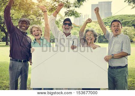 Senior Adult Friendship Togetherness Banner Placard Copy Space Concept