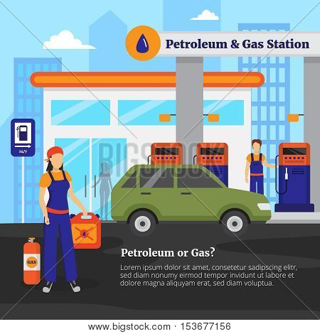 Petroleum and gas station with workers cars and shop flat vector illustration