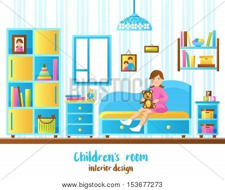Baby room interior with shelves with books and toys and little girl sitting on sofa flat vector illustration
