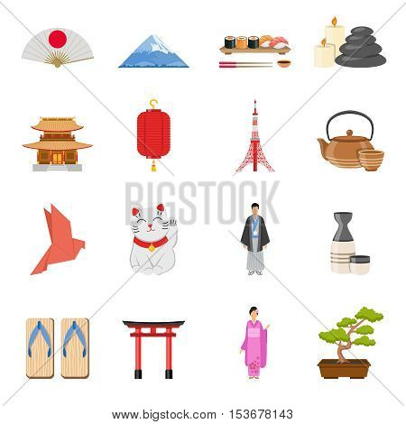 Japanese culture traditions  and national symbols flat icons collection with tea ceremony and kimono isolated vector illustration