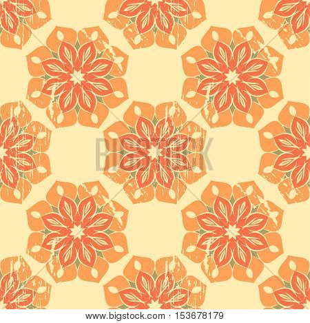 Abstract seamless pattern with floral mandalas in grunge style with scratches, vector illustration