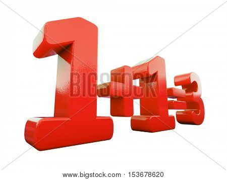 3d Render: Business Synergy Concept 1+1=3, 3d Sign on White Background
