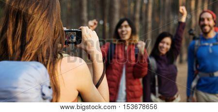 People Friendship Hangout Traveling Destination Trekking Camera Shoot Concept