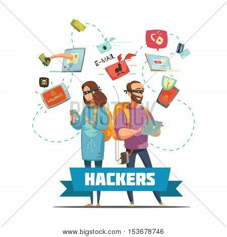 Cyber criminal hackers at work stealing  passwords information and bank account access retro cartoon poster vector illustration