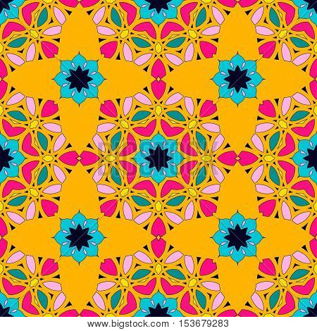 Seamless pattern with mandalas in modern bright colors. Vector background