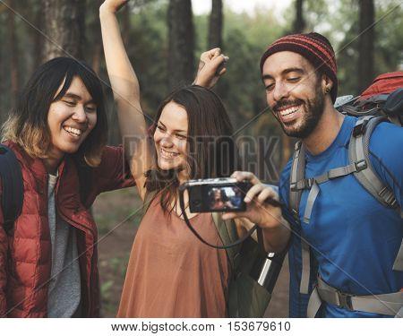 People Friendship Hangout Traveling Destination Trekking Camera Selfie Concept