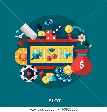 Casino gaming icons round composition with coins dice money diamond clover cherry symbols flat vector illustration