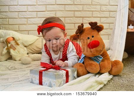 Cute little girl and toy deer under the Christmas tree. Baby holding a gift in her hands