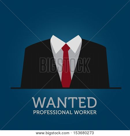 Hire A White Collar Worker Announcement Illustration