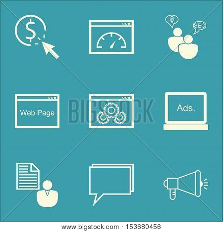 Set Of Marketing Icons On Report, Ppc And Website Topics. Editable Vector Illustration. Includes Com