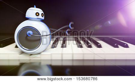 3d render of a sweet little robot running over piano key