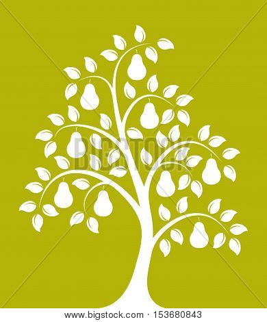 vector pear tree isolated on green background