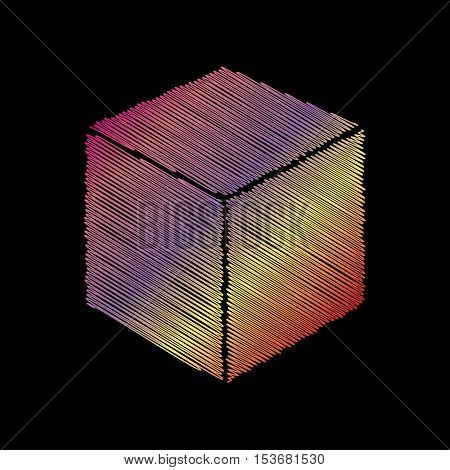 Cube sign illustration. Coloful chalk effect on black backgound.