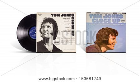 Rishon LeZion Israel-August 12 2016: Old used vinyl stereo album Tom Jones Close Up. Produced in Mexico by Fonografico Fabrica De Discos Peerless S.A. Licensed by London Records Inc 1972 S-1629B
