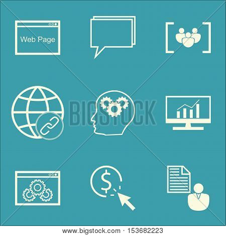 Set Of Marketing Icons On Connectivity, Brain Process And Questionnaire Topics. Editable Vector Illu