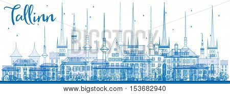 Outline Tallinn Skyline with Blue Buildings. Vector Illustration. Business Travel and Tourism Concept with Historic Architecture. Image for Presentation Banner Placard and Web Site.