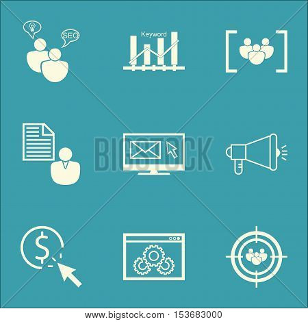 Set Of Advertising Icons On Seo Brainstorm, Website Performance And Media Campaign Topics. Editable