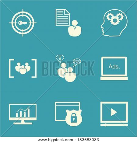 Set Of Seo Icons On Report, Seo Brainstorm And Video Player Topics. Editable Vector Illustration. In