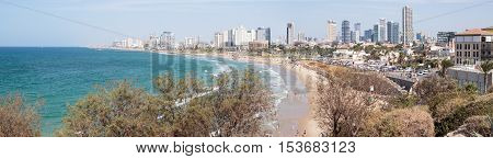 Yafo Israel October 15 2016: Panoramic view of the seafront of Yafo and Tel Aviv Israel