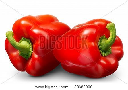 Group of sweet red pepper isolated on white background.