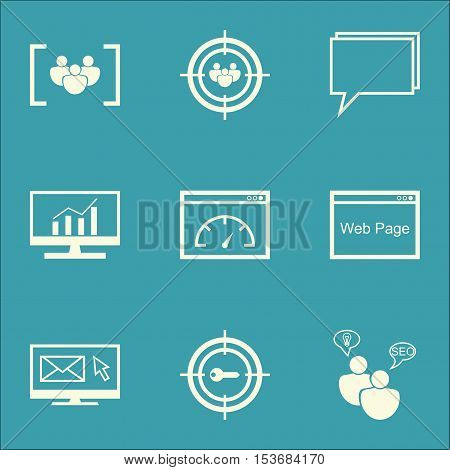 Set Of Marketing Icons On Loading Speed, Market Research And Website Topics. Editable Vector Illustr