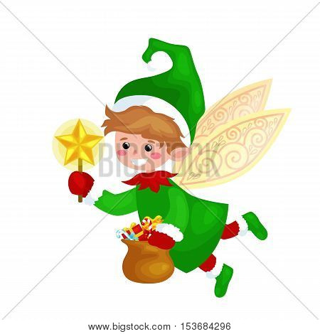 Flying Christmas elf isolated with wings and magic wand star in a green suit with bag of sweets, assistant of Santa Claus, helper holding candy pot for happy new year vector illustration