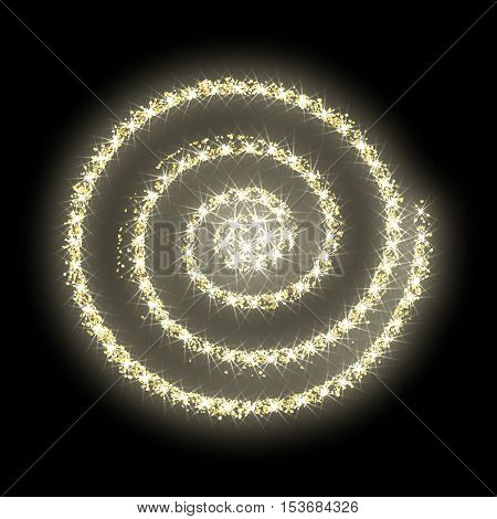 Gold glitter circle golden vector background abstract sparkle luxury shiny new year texture