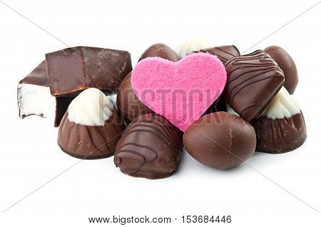 Chocolate Candy And Pink Heart