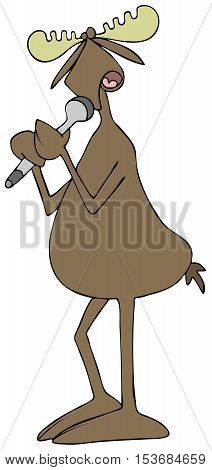 Illustration of a bull moose singing into a cordless microphone.
