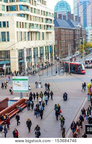 The Hague the Netherlands - October 27 2016: shopping district of The Hague