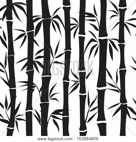 Bamboo seamless pattern. Floral seamless texture with leaves. Vector illustration