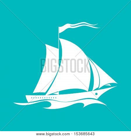 Yacht on the Waves, Sailing Vessel Isolated on Green Background, Travel Concept ,Vector Illustration