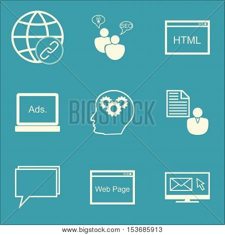 Set Of Marketing Icons On Newsletter, Report And Conference Topics. Editable Vector Illustration. In