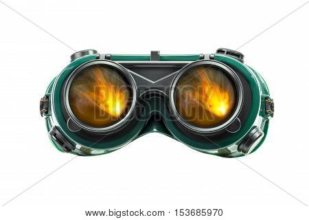 Safety eye glasses and fire reflect isolated on white background with clipping path