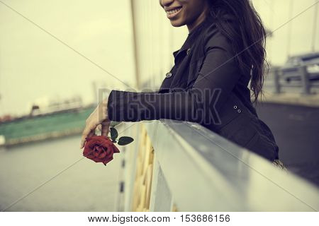 African Woman Rose Flower Love Passion Valentine Concept
